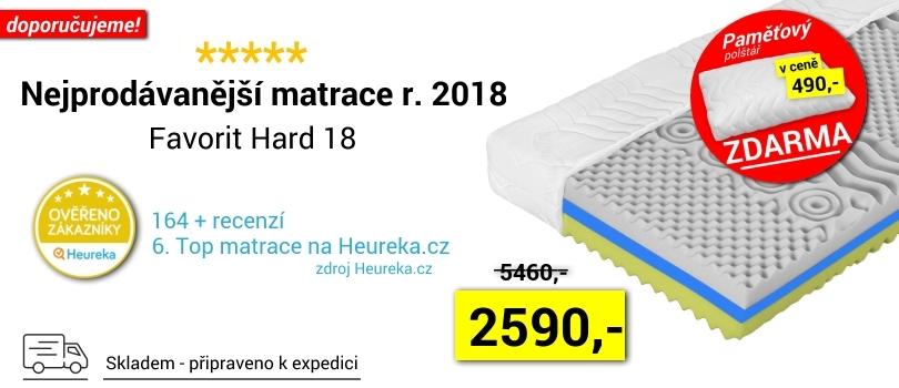 Nejprodávanější matrace roku 2018 je tvrdší Favorit Hard 18 s luxusním potahem