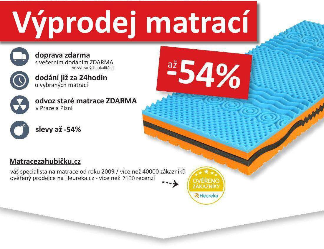 Výprodej matrací - výprodej matrací až -54% s dopravou zdarma