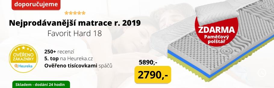 Nejprodávanější matrace roku 2019 je tvrdší Favorit Hard 18 s luxusním potahem
